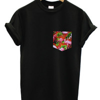 Red flamingo print pocket black t shirt