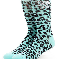 Crooks and Castles Cheater Girls Mint Leopard Print Crew Socks