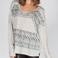 H.I.P. Ethnic Border Stripe Womens Tunic Heather Grey  In Sizes
