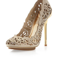 Peacock Cutout Embellished Pump, Powder