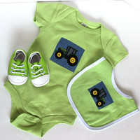 Tractor outfit, Boys Onesuit, matching bib and shoes, baby shower, infant boys
