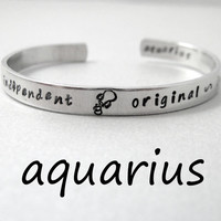 Zodiac Sign Bracelet - AQUARIUS - 2-Sided Hand Stamped Aluminum Cuff - Gifts Under 20
