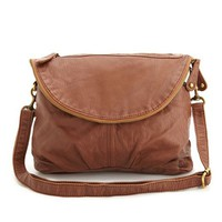 FOLD-OVER ZIP FRONT CROSS-BODY BAG