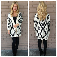 Black Tribal Knit Cardigan