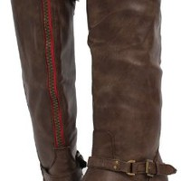 Dark Tan Faux Leather Bold Red Back Zipper Buckle Riding Boot Nakia Tan/Red 7