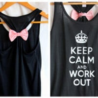 Keep Calm and Work Out Black Flowy - SMALL