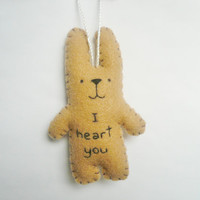 Unique Christmas ornaments Felt animal tree decoration - funny bunny - I heart you