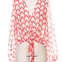 Chevron Breeze Blouse - Coral + White - $37.00 | Daily Chic Tops | International Shipping