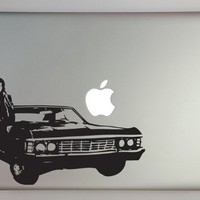 "Supernatural inspired Dean with Impala 13"" Macbook Laptop Decal"