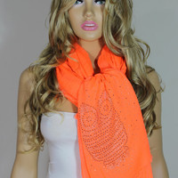 NEW Owl Scarf Hot Fix Rhinestone Transferred Extra Large Super Soft Neon Orange Scarf Shawl Christmas Gift For Her ESCHERPE