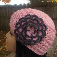 Pink Hat , Flower Hat , Knitted Hat , Women's Hat