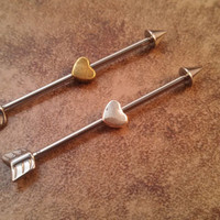 Arrow and Heart Industrial Barbell Piercing Upper Double Ear Piercing