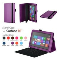 Elsse (TM) Premium Folio Case with Stand for Microsoft Surface RT / Surface 2 (Does not fit Windows 8 Pro Version) - (Surface RT / Surface 2, Purple)