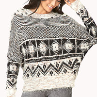 Shaggy Mixed Pattern Sweater