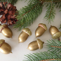 6 Real Acorn Christmas Tree Ornaments Gold with Gold Glitter Caps / Handmade by FeistyFarmersWife