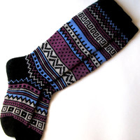 Back to school Scandinavian pattern rustic autumn fall winter knit knee-high black white lilac blue wool socks Christmas gift CUSTOM MADE