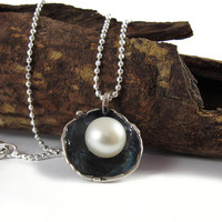 Necklace, pendant Sterling silver with white pearl, oxidized cup, pearl necklace, Gift for Her, under 30