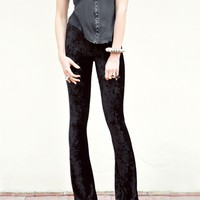 With Hearts In My Eyes Black Crushed Velvet Flare Pants