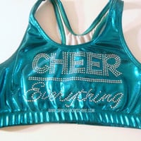 CHEER over Everything Rhinestone Metallic Sports Bra Cheerleading