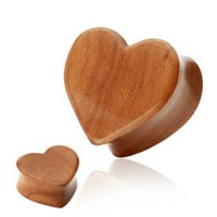 "Pair (2) Cherry Wood Heart Ear Plugs Double Flare Organic Tunnels - 3/4"" 19MM"