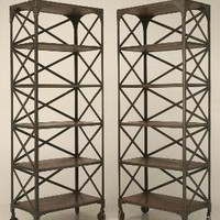 Vintage French Industrial Steel Shelf Unit