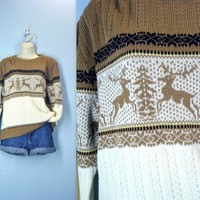 Vintage 1960s Holiday Lodge Resort Reindeer Sweater