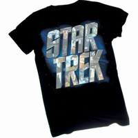 Star Trek Movie - Character Logo Crop Sleeve Fitted Juniors T-Shirt