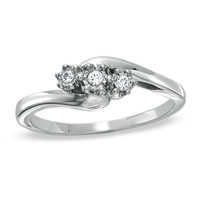 Diamond Accent Three Stone Bypass Ring in Sterling Silver