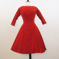 50s Dress Vintage Red Velvet Full Skirt Party Dress S Holiday