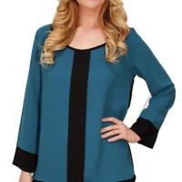 Jade Paneled Blouse