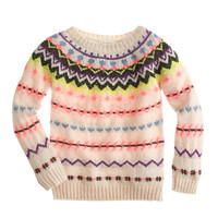 GIRLS' ZIGZAG FAIR ISLE SWEATER