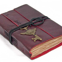 Deep Cherry Red Leather Journal with Tea Stained Paper and Winged Clock Key Bookmark