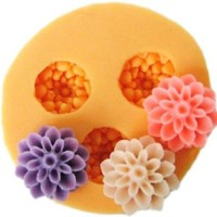 Allforhome 3 Cavities Mini Silicone Mold 1.5cm Resin Flowers Clay Fimo Candy Chocolate Mold Decorating