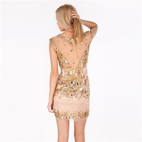 Bella™ Juniors Jeweled Sheath Dress with Illusion Neckline at Von Maur