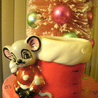 Adorable Mouse with Santa's Boot Christmas Holiday Figurine Decoration