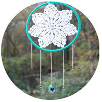 Peacock Feather Dreamcatcher- gold, green, teal, doily, modern, dream catcher
