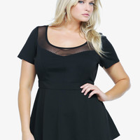 Mesh Yoke Illusion Peplum Top | Torrid
