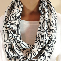 Black and White Key Print Flannel Infinity Scarf