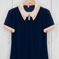 Music Sessions Crochet Lace Vintage Double Collar Short Sleeve Blouse in Navy/Pink | Sincerely Sweet Boutique
