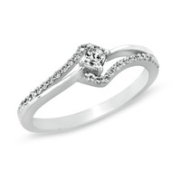 1/4 CT. T.W. Diamond Swirl Promise Ring in 10K White Gold