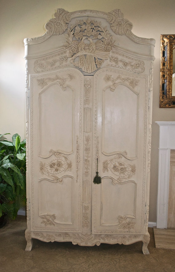 antique shabby chic french armoire carved from theyardleycottage. Black Bedroom Furniture Sets. Home Design Ideas