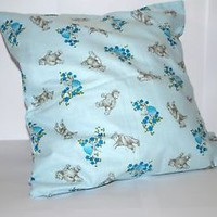 Handmade baby blue cushion cover