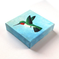 Original Painting, HUMMINGBIRD, 6x6 Acrylic, Art for Small Spaces