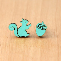 Squirrel and Acorn Stud - Wood - Laser Cut