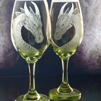 Lime green dragon engravedwine glass set of two , gift ideas, dining, entertaining hostess gifts