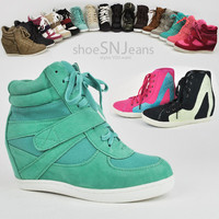 Women High Top Wedge Heels Sneakers Hip Hop Lace Up Tennis Shoes Booties Boots