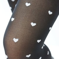 Black & White Hearts Tights