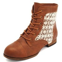 CROCHET INSET LACE-UP BOOTIE