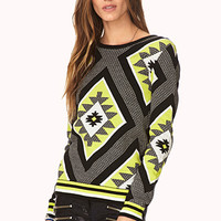 FOREVER 21 Neon Out West Sweater Black/Neon Yellow Large
