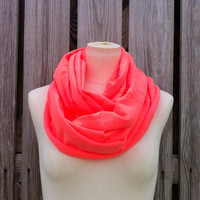 Neon Tangerine Orange Infinity Scarf - All Season Loop Scarf
